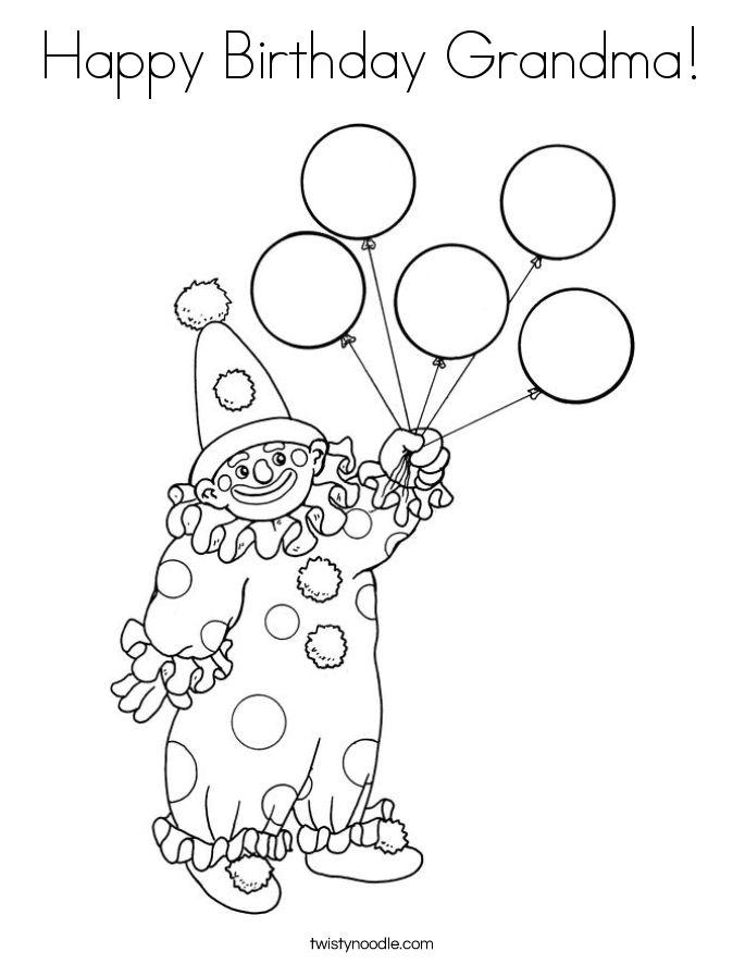 Happy Birthday Grandma Coloring Page - Twisty Noodle