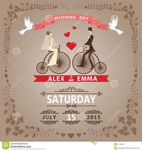 Wedding Invitation With Bride, Groom,retro Bicycle, Floral