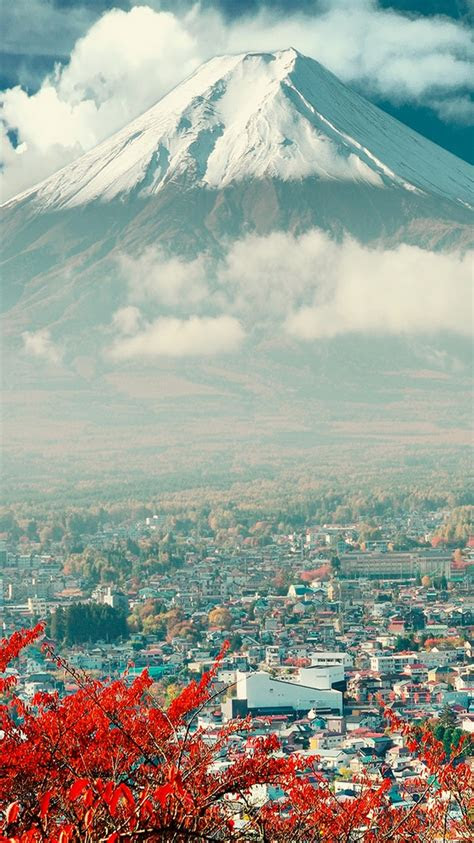 mount fuji japan city iphone  wallpaper hd