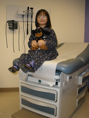 Olivia with Chestnut at Endocrinologist Appointment