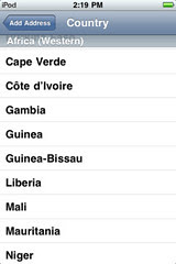 ipod touch country list bug: Ghana must go