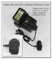 PJ1059: Vivitar 283 Flash Unit with SC-1 Sensor Extension Cord Fitted with Voltage Limiter Module - Reduces Trigger Voltage from 250 volts to 6 volts
