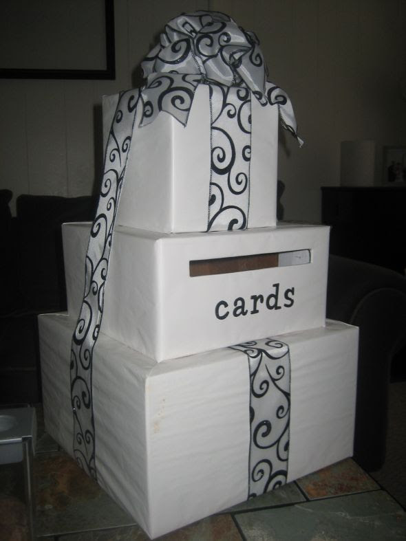 Wedding Card Box White Black Flourish wedding flourish card box black