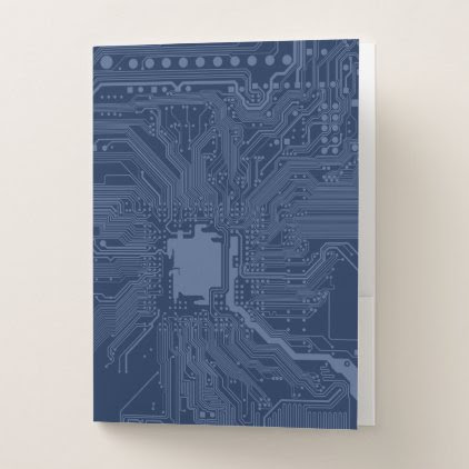 Blue Geek Motherboard Circuit Pattern Pocket Folder