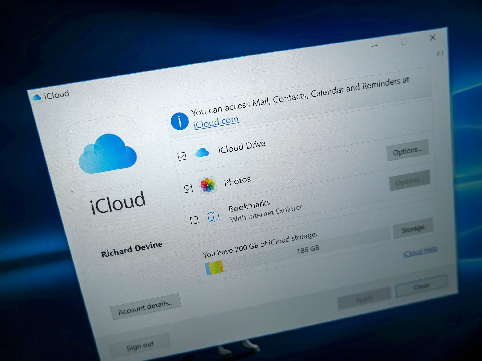 iCloud on Windows 10