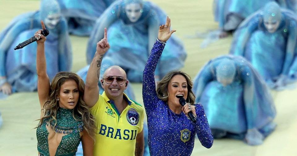 From left: Singer Jennifer Lopez, rapper Pitbull, and Brazilian singer Claudia Leitte performed during the opening ceremony before the FIFA World Cup 2014 group A preliminary round match between Brazil and Croatia at the Arena de Sao Paulo in Brazil on June 12.