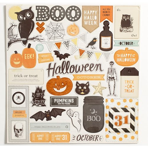 Crate Paper - After Dark Collection - Halloween - 12 x 12 Chipboard Stickers with Glitter Accents