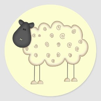 Stick Figure Sheep tshirts and Gifts sticker