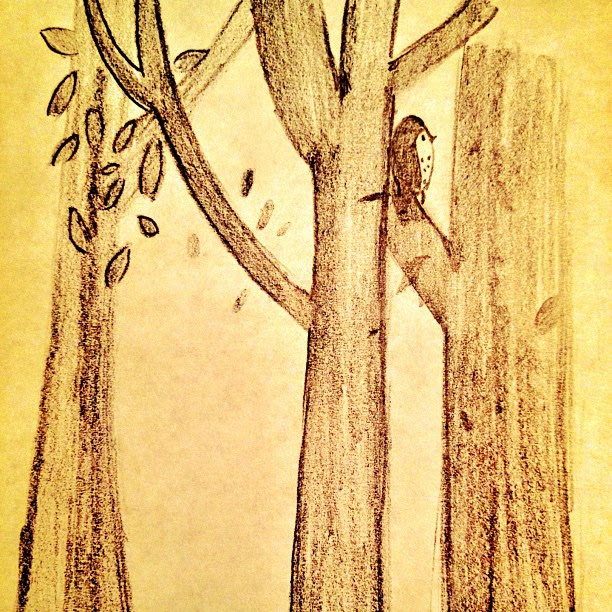 Inspired by Bumbleboo - Morgan sketched this freehand #illustration #trees #owls