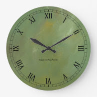Brushed Green Faux Finish Wallclock Roman Numerals