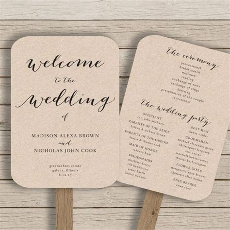 wedding program fan template printable rustic wedding