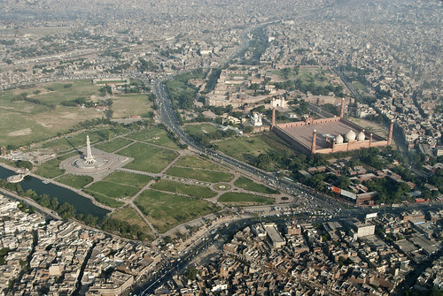 The sprawling city of Lahore behind its iconic buildings