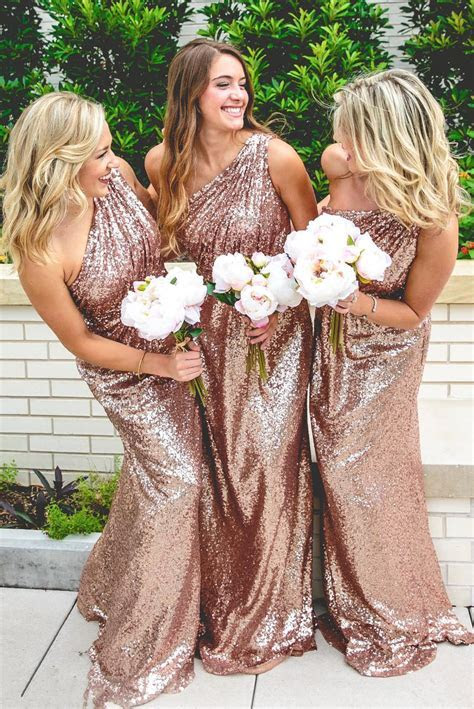 Sparkly Bridesmaid Dresses Long Sequins 2017 Rose Gold