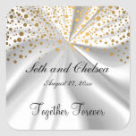 Wedding Day White Satin & Gold Dots | Personalize Square Sticker