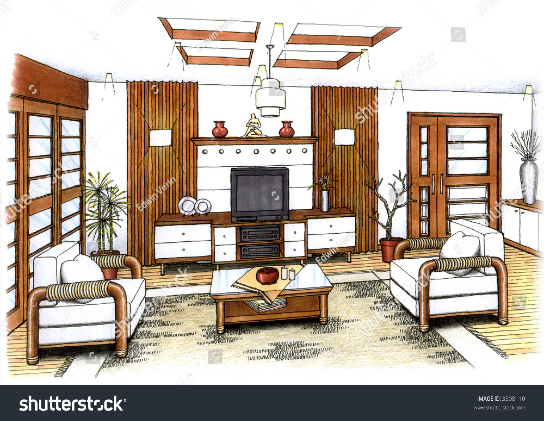 Artists Simple Sketch Interior Design Living Stock ...