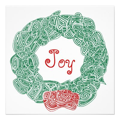 Joy Christmas Wreath Custom Announcement
