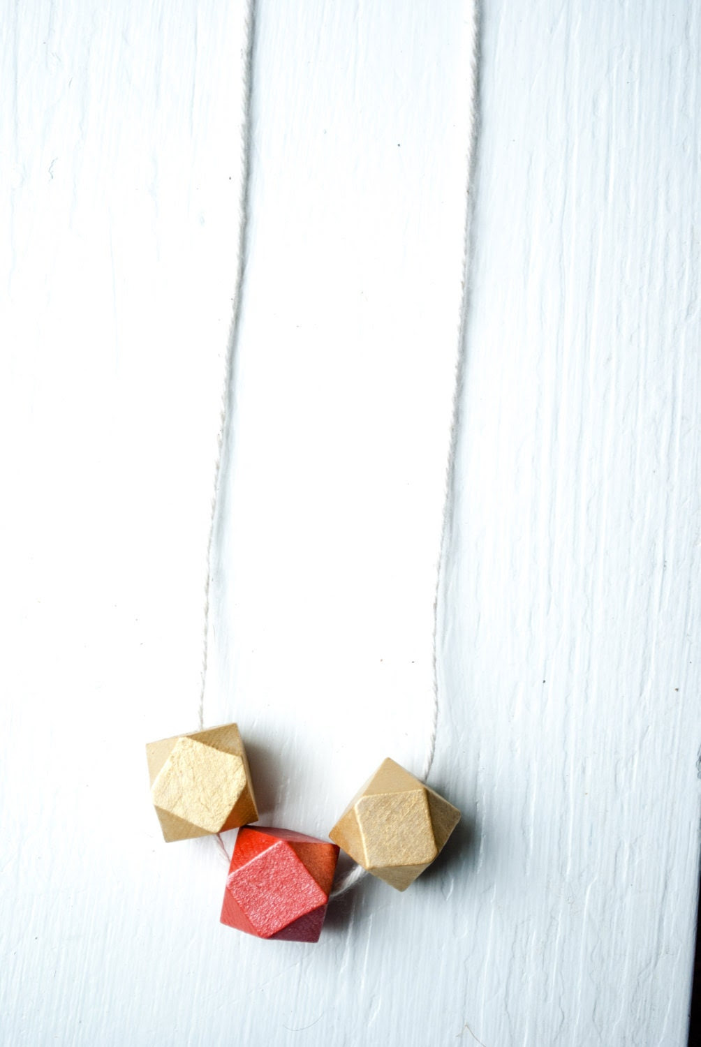 One Of A Kind Geometric Painted Wood Necklace / Lux Collection: Peach and Gold Spring Color Block Jewelry - EasternTrend