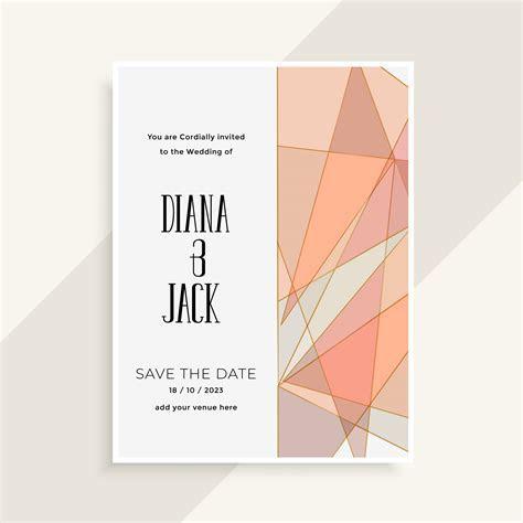 modern abstract geometric style wedding invitation card