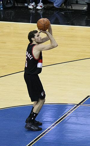 Rudy Fernandez playing with the Portland Trail...