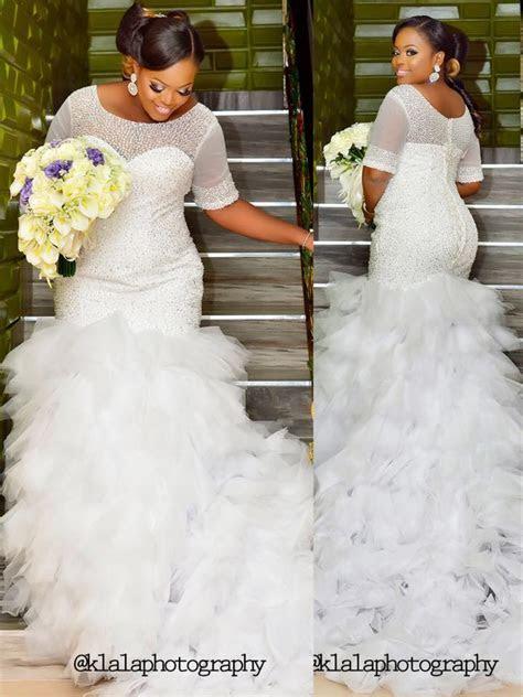 Fully Beaded Mermaid Plus Size Modest Wedding Dresses Half