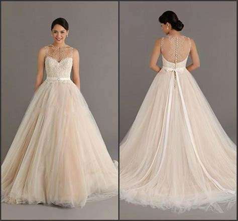 Stunning Champagne Wedding Dresses With Sash Cheap Sheer