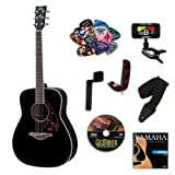 Yamaha FG720S Black Acoustic Guitar BUNDLE w/Legacy Accessory Kit (Tuner, Picks, DVD and Much More)
