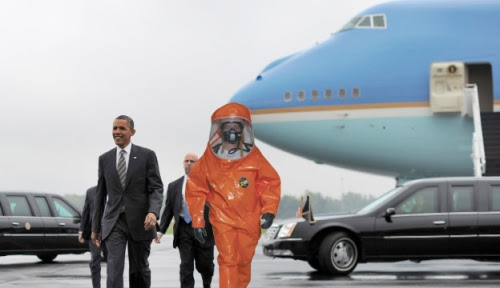 STRONG STOMACH: Obama being escorted away from Air Force One
