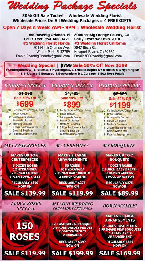 Wholesale Wedding Flower Packages Orange County Discount