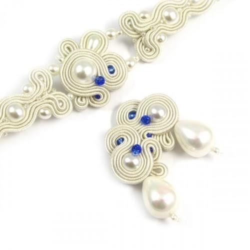 Komplet biżuterii ślubnej z perłami