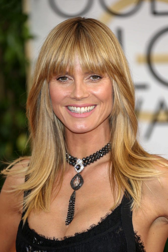 Heidi Klum Smooth Hair with Lash Grazing Fringe