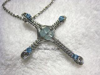 Aquamarine Weaved Cross