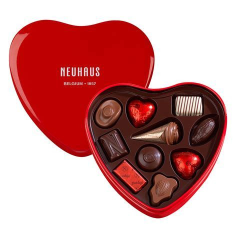 Neuhaus Red Tin Chocolate Heart Box for Delivery in the US