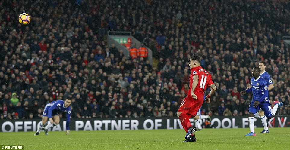 Liverpool had a glorious chance to equalise in the second half but Firmino was unable to keep his effort down