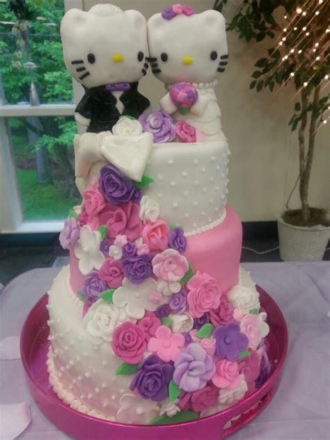 Hello kitty wedding cake with fondant covered rice krispy