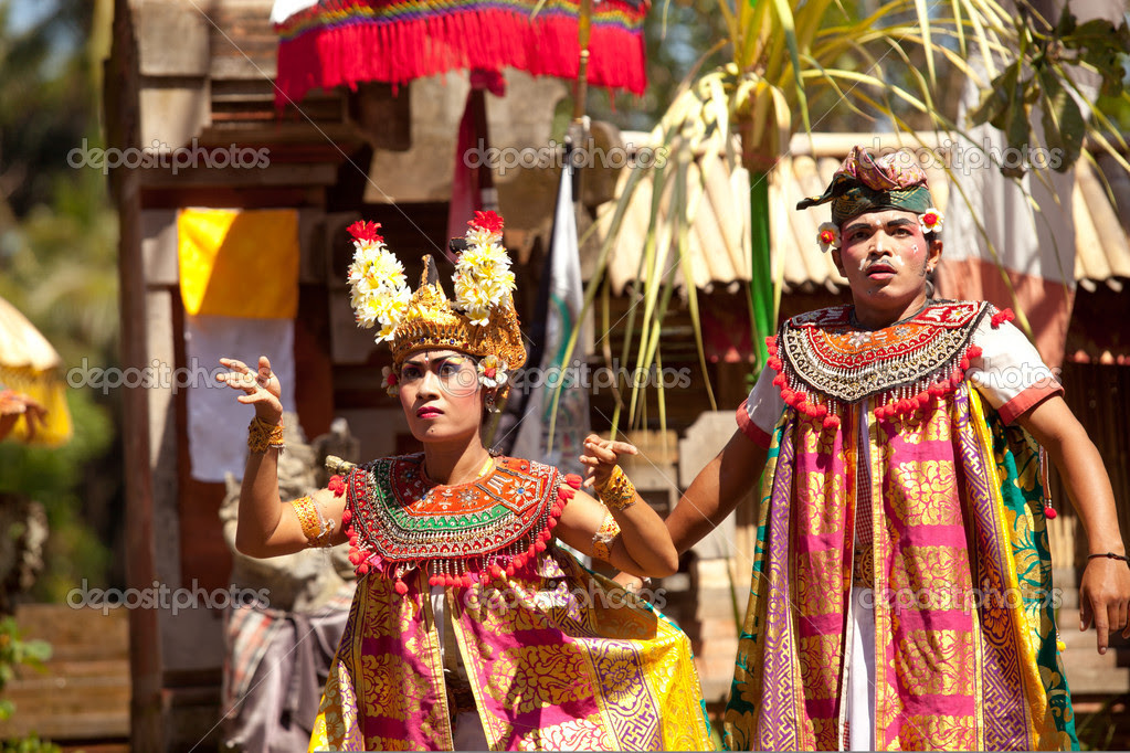 BALI, INDONESIA APRIL 9: Balinese actors during a classic national Balinese dance formal wear on