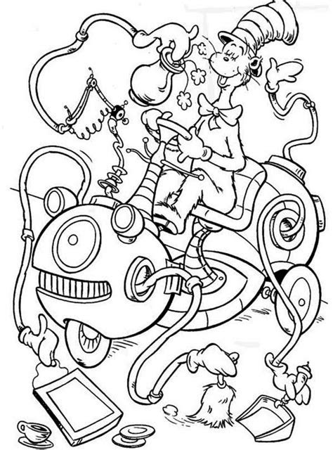 cat   hat cleaning machine coloring page color luna