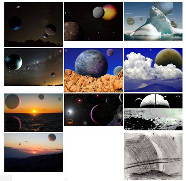 A snapshot of the 11 illustrations I created last year that are on the memory card now orbiting the Earth aboard NASA's TESS spacecraft.