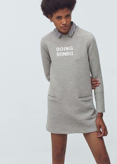 Textured message dress | MANGO