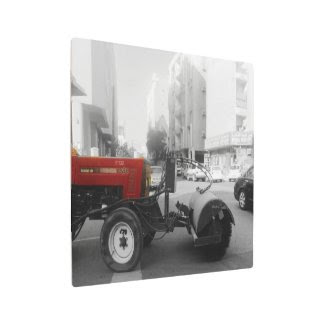 the red street sweeper truck metal photo print