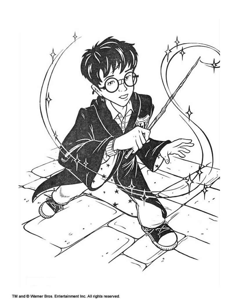 Harry Potter With Magic Stick Coloring Pages Hellokidscom