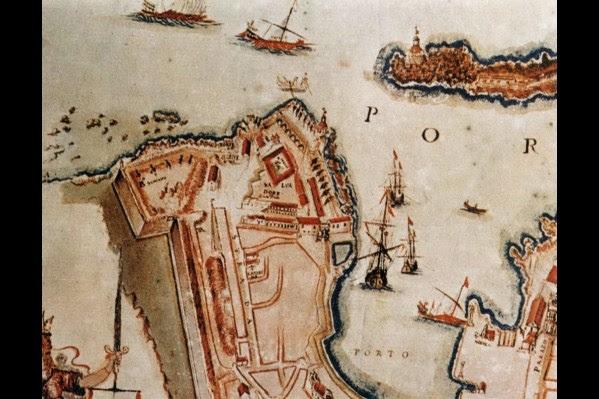 Χάρτης του Corner του 1625 που απεικονίζει όλο το τμήμα των οχυρώσεων (Δ. Τομαζινάκης, Αρχείο Εφορείας Αρχαιοτήτων)
