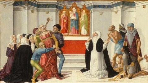 Fichier:'St. Catherine of Siena Exorcising a Possessed Woman', painting by Girolamo di Benvenuto.jpg