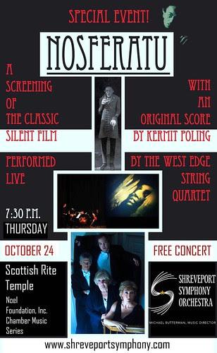 West Edge Quartet, Shreveport: music for Nosferatu on Oct 24 by trudeau