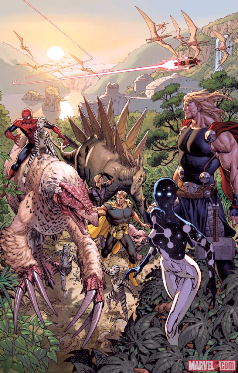 """ AVENGERS #12 JONATHAN HICKMAN & NICK SPENCER (W) • MIKE DEODATO (A) COVER BY DUSTIN WEAVER 50TH ANNIVERSARY VARIANT BY DANIEL ACUÑA ""CHILDREN OF THE SUN"" • A day in the life of the Avengers…in the Savage Land. • The boys go hunting for dinosaurs..."