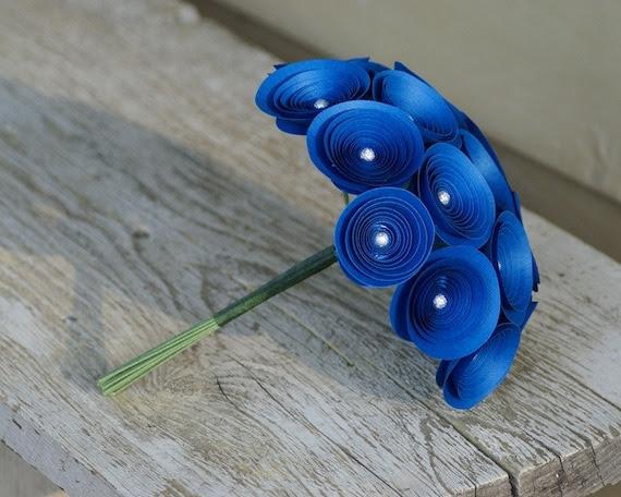 Royal Blue Bouquet -- Sodalite Blue Paper Flowers Flowers with Silver Beads -- Medium Bridesmaids Bouquet