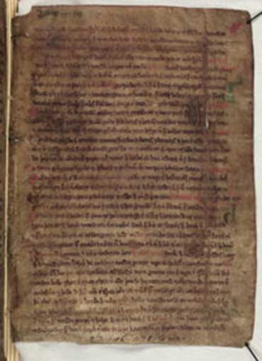 A page from a skin manuscript of Landnámabók, a primary source on the settlement of Iceland.