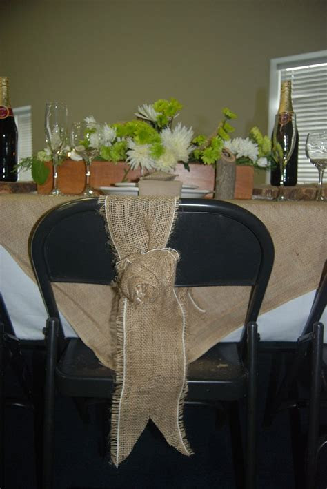 Rustic Weddings Burlap   Burlap rosette chair wrap. Rustic
