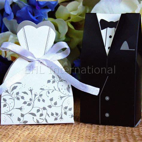 wedding favor boxes dress tuxedo bride groom