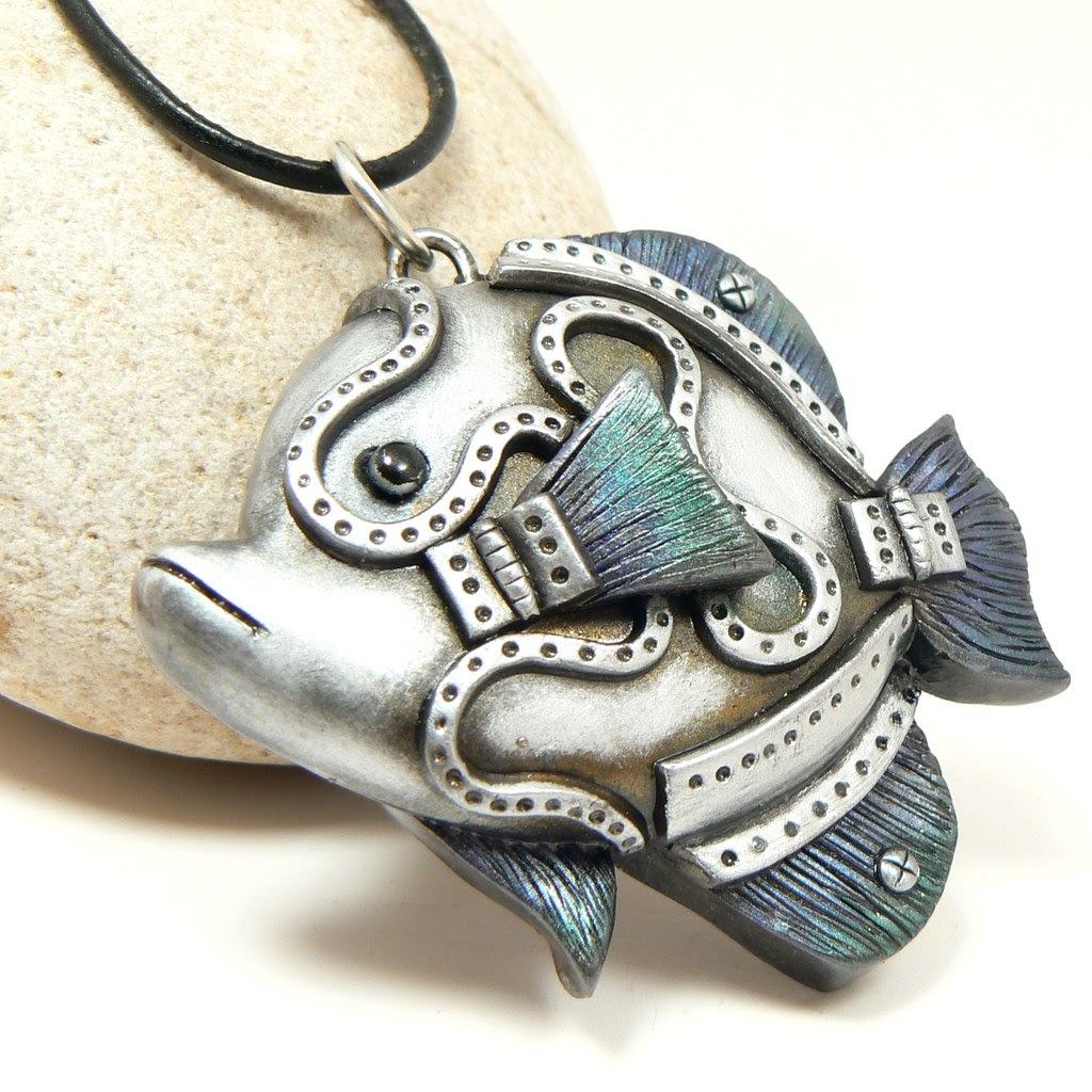 steampunk angelfish pendant