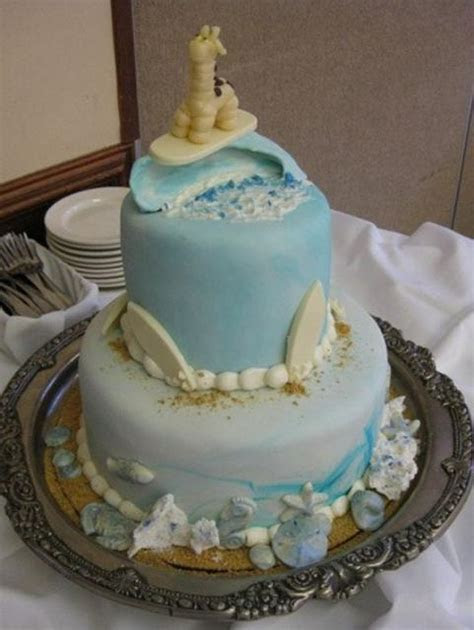 Two tier ocean theme baby shower cake with shells and